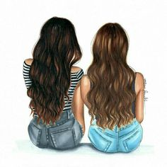 Me and my bff Best Friend Sketches, Friends Sketch, Drawings Of Friends, Drawing Of Best Friends, Cute Best Friend Drawings, Best Friend Pictures, Bff Pictures, Light Brow Hair, Illustration Amis