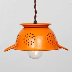 Mini Colander Pendant Orange  by Hilary Nagler    I really want this to replace the dated pendant lamp in my kitchen.    Available fab.com