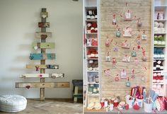 árvore de natal feita com restos de mandeira, árvore de natal desenhada com fitas na parede