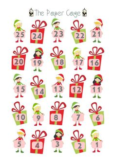 Christmas Countdown Calendar / Planner Stickers by ThePaperCage on Etsy https://www.etsy.com/listing/258254105/christmas-countdown-calendar-planner