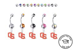 BRAND NEW Pick Your Color Iowa Hawkeyes Style 2 College Belly Navel Ring