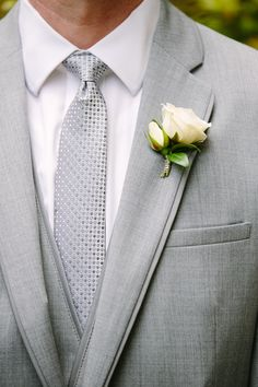 Simple White Boutonniere | K. Thompson Photography, LLC | TheKnot.com