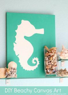 DIY Canvas Beach Art - Great idea for bathroom art and decoration Beach Theme Bathroom, Beach Bathrooms, Bathroom Art, Beach Room, Bathroom Canvas, Design Bathroom, Bathroom Colors, Bathroom Fixtures, Small Bathroom