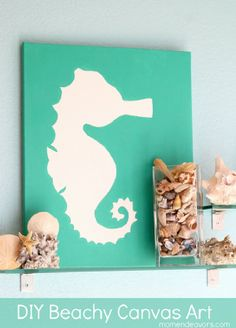 Beachy Seahorse Canvas