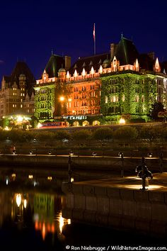 The historic Empress Hotel located on the Inner Harbour in Victoria, Vancouver Island, British Columbia, Canada