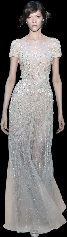 obsessed w/ Ellie Saab dresses - Fall 2012 sequin and beaded short-sleeve silvery white column dress