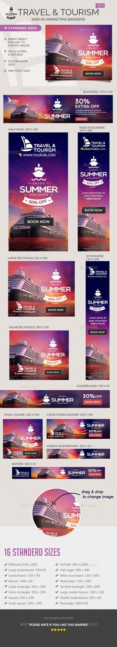 Travel Ad Banners Template #design #banners #web Download: http://graphicriver.net/item/travel-ad-banners/11808674?ref=ksioks