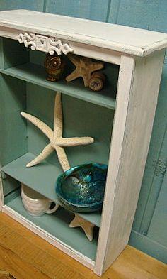Shelf Bookcase Turquoise White Shabby Chic Curio by CastawaysHall, $55.00