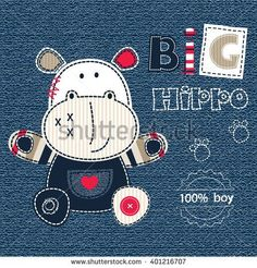 Jeans background with cartoon little hippo