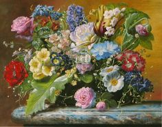 Enjoy our large collection of Gyuka Siska Original Oil Paintings. Siska's highly detailed florals are reminiscent of old master paintings. Old Master, Cross Stitch Embroidery, Flower Art, Floral Paintings, Fine Art, The Originals, Gallery, Artwork, Flowers