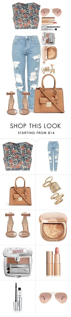 """Untitled #1555"" by fabianarveloc on Polyvore featuring Glamorous, Topshop, Michael Kors, Gianvito Rossi, Benefit, Clinique, Ray-Ban and FOSSIL"