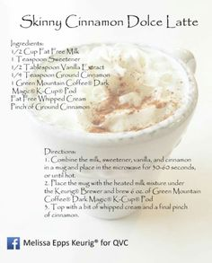 Skinny Cinnamon Dolce Latte Skinny Cinnamon Dolce Latte Recipe, Starbucks Cinnamon Dolce Latte, Skinny Latte, Skinny Coffee, Keurig Recipes, Coffee Recipes, Healthy Menu, Healthy Cooking, Coffee With Alcohol