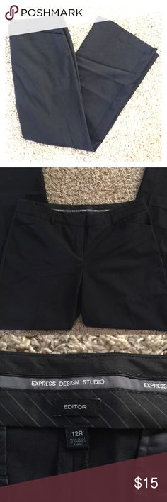 Express Editor black dress pants Express Editor black dress pants. Wore once. Size 12R. Front slit pocket and small back pockets with buttons. Inseam measures 32inches. I am 5'9 and I wore with heels Express Pants