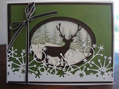 Winter card with Memory box deer and frostyville snow border dies - Paper, Scissors, Ink. Ellen Hutson LLC sells Memoy Box. #ellenhutsonllcstore