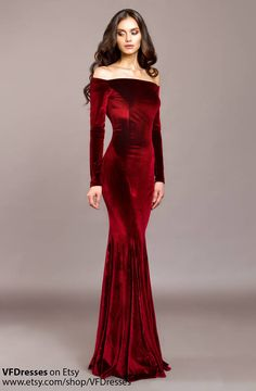"""Burgundy Velvet #dress in mermaid style. Evening dress with open shoulders  Mermaid Dress for a special occasion from the collection """"Imperial""""  This dress perfect for speci... #dresses #summer #eveningdress #fashion #vogue #handmade #etsy #gowns #bridesmaids"""