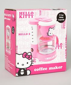 Sure to perk up any kitchen, this Hello Kitty six-cup coffeemaker comes with anti-drip feature, translucent water tank with level marks, warming function, removable filter basket and an easy-grip handle.