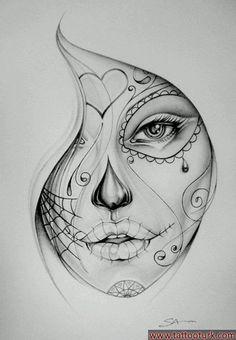 Get La Muerte Tattoo. Still looking for design, placement - thigh Bucket List. Get La Muerte Tattoo. Still looking for design, placement - thigh. Get La Muerte Tattoo. Still looking for design, placement - thigh. Sketch Tattoo Design, Sketch Design, Tattoo Sketches, Tattoo Drawings, Drawing Sketches, Art Drawings, Pencil Drawings, Drawing Art, Drawing Step