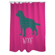 Show off your love of your favorite furry friend with this fashionable shower curtain, featuring a typographic 'Woof' dog design. Made with machine washable fabric, this easy-care accessory will infuse your bathroom with bold pink color.
