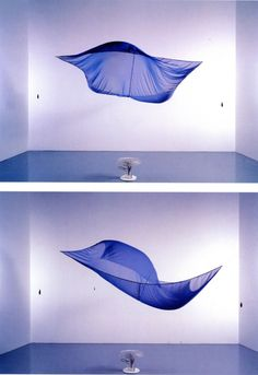 Blue Sail (1964-1965), a blue chiffon sheet blown by a fan, by Hans Haacke: