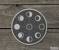 Moon Phases Cross-Stitch Pattern
