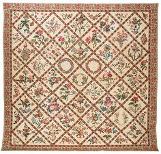 Chintz appliqué album quilt, 1845, made by Gracy Drummond. | Flickr - Photo Sharing!