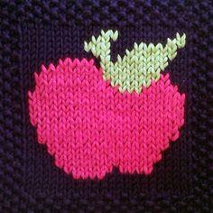 PDF Knitting Pattern Apple motif afghan / blanket square - instant download after purchase