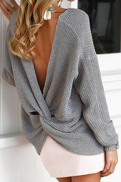 e1325215ef127 Sexy Lady V Neck Backless Sweater – LBDUK Sweater Fashion