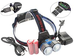 LED Headlamp 2000LM 2X XML T6 18650 USB Rechargeable Head Torch Light Portable Camping Tactical Petzl LED LightsBy 2x 18650 3X AAA 3X AA Batteries HeadlampAC Charger2X 18650 BatteriesUSB Cable ** You can find out more details at the link of the image.