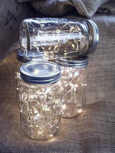 Mason jar lamps for vintage rustic wedding decor lighting. Fairy lights, Great buy, Battery operated led lights with the smallest battery pack on the market for beautiful Mason jars This listing is for - Wedding Dresses Fashion Pot Mason Diy, Mason Jar Lamp, Pots Mason, Homemade Wedding Decorations, Beach Wedding Decorations, White Party Decorations, Light Decorations, Decor Wedding, Fairy Decorations