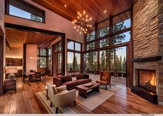 Airy And Cozy Rustic Living Room Designs Ideas 24 Cozy Living Rooms, New Living Room, Living Room Decor High Ceilings, High Ceiling Living Room Modern, Modern Mountain Home, Modern Lodge, Rustic Modern, Rustic Stone, Mountain Homes