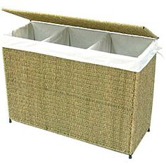 @Overstock.com - Woven seagrass hamper is a flexible and stylish laundry solutionVersatile, 3-section handcrafted hamper is made of high-quality seagrass with a strong metal frameDecorative seagrass hamper has a warm honey colorhttp://www.overstock.com/Home-Garden/America-Basket-Company-Woven-Seagrass-Lined-3-section-Full-load-Hamper/4319197/product.html?CID=214117 $108.99