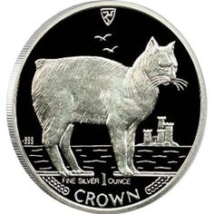 """Silver Colored Coin MANX CAT 1988 """"Cats"""" Series"""
