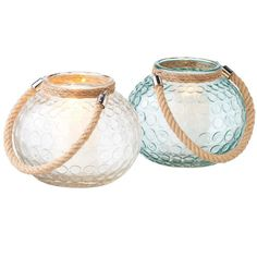 Large Glass & Rope candle holder or bowl vase, Clear or Sea Green Nautical decor SALE
