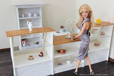 Miniature Doll Counter and 2 Showcases for Bakery store, Coffee shop, Cafe in 1/6 scale (Blythe, Barbie, 12'' Fashion Royalty dolls, Pullip, Obitsu, BJD, YOSD, Bratz, Momoko). Shabby chic style