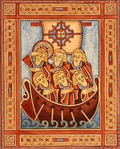 Brendan and his monks. A St. Brendan Tea Towel | Brendan's Voyage ...