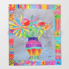 Flower Vase | Kids Painting | 3D Collage Throw Blanket Painting For Kids, Art For Kids, 3d Collage, Flower Vases, Flowers, Fold Envelope, Fine Art Prints, Stationery, Quilts