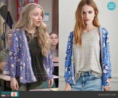 Maya's blue floral kimono on Girl Meets World.  Outfit Details: http://wornontv.net/50539/ #GirlMeetsWorld