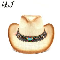 ec9ddc42 Fashion Women Straw Cowboy Hat With Punk Leather Band For Lady Dad Western  Sombrero Hombre Cowgirl Jazz Caps Size 58CM [orc32901904602] - $40.84 : ...