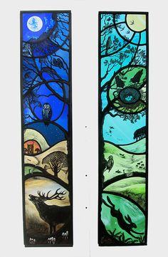 Night and Day Stained Glass - Tamsin Abbott --> Amazing stained glass art. Would be cool to emulate this style with quilting