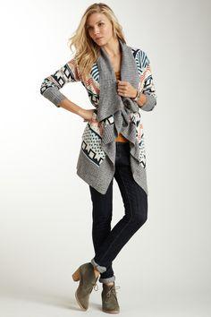 Front Draped Print Sweater Wrap