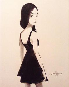 #ink #inktober #inktober2016 #drawing #KurtChangArt #art #illustration #lighting #girl #blackdress #hair