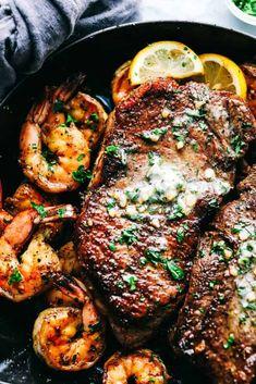 19. Skillet Garlic Butter Steak and Shrimp Shrimp Recipes For Dinner, Low Carb Dinner Recipes, Seafood Recipes, Beef Recipes, Cooking Recipes, Steak Dinner Recipes, Healthy Recipes, Dinner Healthy, Steak Dinners For Two