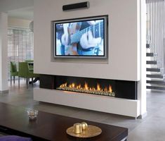 Stone Ethanol Fireplace Under TV
