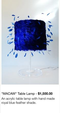 Table lamp, feather shade, Ives Klein blue