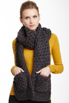 Vince Camuto Tuck Stitch Crochet Border Muffler