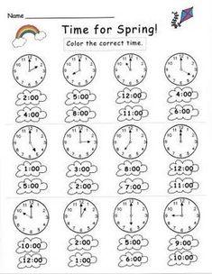 kindergarten clock worksheets   kinder   Pinterest   Worksheets ...