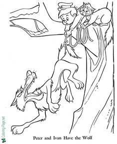 Printable Peter and Ivan coloring page, fairy tale coloring sheets and pictures for kids, children. Music Activities For Kids, Fun Games For Kids, Listening Activities, Free Coloring Sheets, Printable Coloring Pages, Peter Wolf, Wolf Craft, Wolf Colors, Numbers Kindergarten