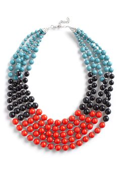 Bead Keeper Necklace - Beads, Red, Blue, Black, Casual, Colorblocking