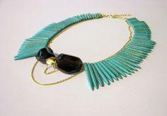 collar necklace, turqoise and smoky quartz