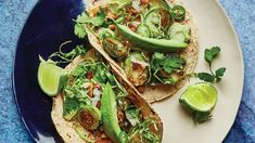 Brussel Sprouts Tacos with Spicy Peanut Butter. Cooked and raw brussels sprouts are matched with a rich umami dressing and a spicy nutty sauce in this surprising but winning taco. Vegetarian Tacos, Vegetarian Recipes, Quesadillas, Enchiladas, Bon Appetit, Roasted Sprouts, Sprout Recipes, Peanut Butter Recipes, Sans Gluten